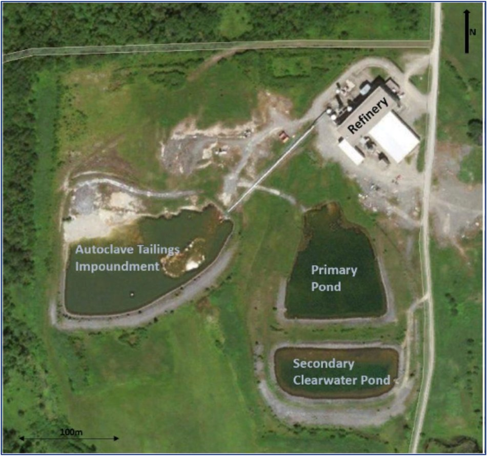 Image 1. Aerial image of the facility illustrating the existing footprint of the refinery building and the tailing ponds. (CNW Group/First Cobalt Corp.)