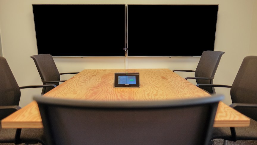 PanaCast-enabled Zoom Rooms used in a huddle room inside Uber's offices.