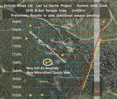 Location of new quartz vein near Aurizon Gold Deposit, Lac La Hache Property, BC. (CNW Group/Engold Mines Ltd.)