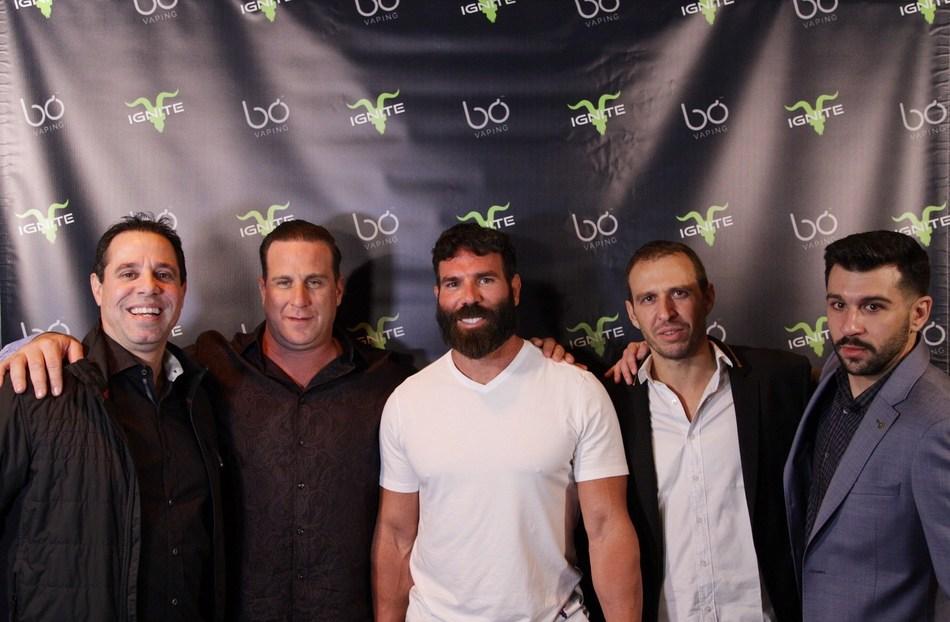 Dan Bilzerian, Darren Schwartz, Chris Fiumara, Manuel Gonzales and Zach Bader at the Bo Vaping Ignite launch party.