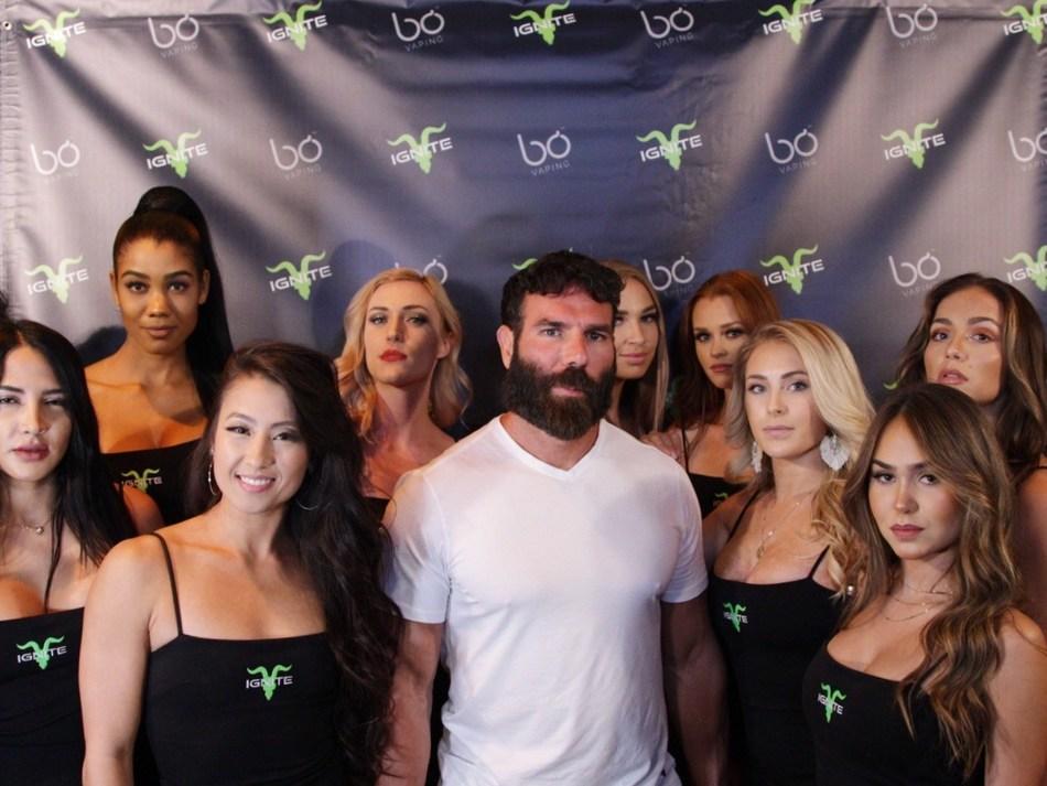 Dan Bilzerian and the Ignite Girls at the Bo Vaping Ignite launch party.