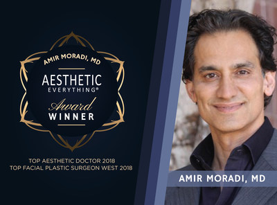 "Dr. Amir Moradi Receives Double Wins in Aesthetic Everything® 2018 Awards, Nabs ""Top Aesthetic Doctor"" and ""Top Facial Plastic Surgeon West"""