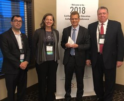Phil Searle (holding the award) with Cathy O' Sullivan, together with Mike Redmond (to the right of Phil) and Jorge Burwick (to the left of Cathy) of the California Higher Education Collaborative (CHEC) Conference Planning Committee