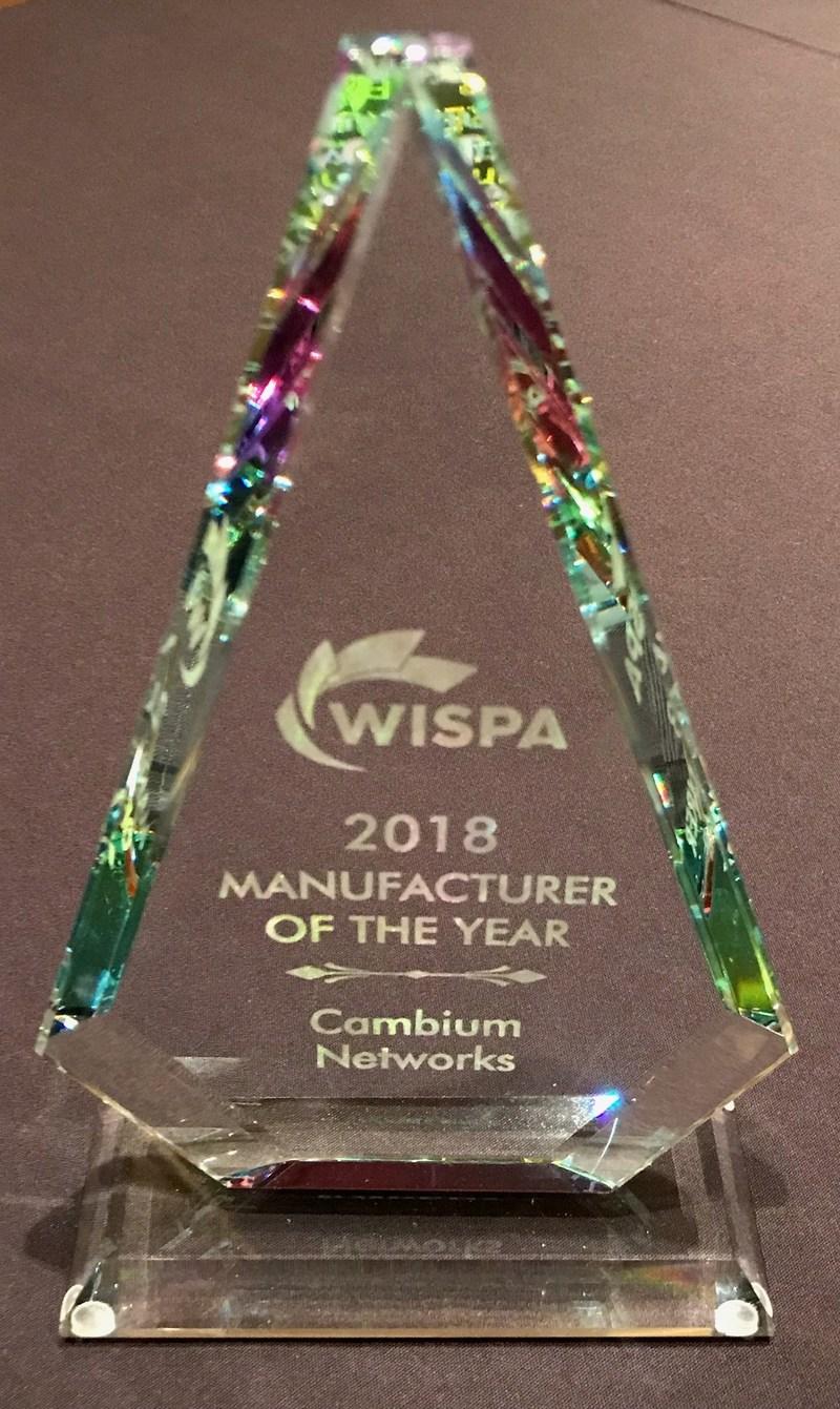 Les membres de WISPA décernent à Cambium Networks le prix du manufacturier de lʹannée