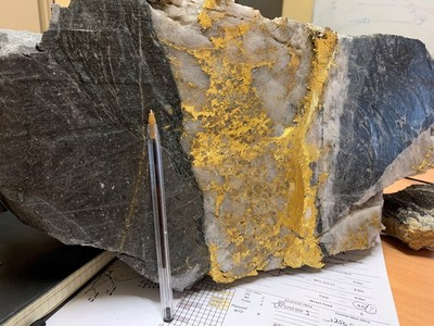 Figure 3: Close up showing Father's Day Vein structure, gold in quartz, with porphyry, sediments and basalt. (CNW Group/RNC Minerals)