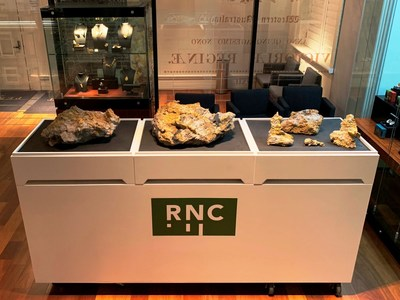 Figure 4:  Gold specimen stones from the Beta Hunt Mine on display at the Perth Mint. (CNW Group/RNC Minerals)