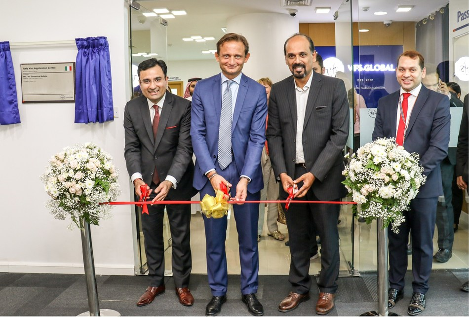 H.E Domenico Bellato, Ambassador of Italy to the Kingdom of Bahrain (centre) and Mr. Atul Marwah, Regional Head – Middle East, VFS Global (first from left) inaugurating the new Italy Visa Application Centre in Manama, Bahrain, on 09 October 2018 (PRNewsfoto/VFS Global)