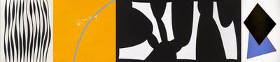 Marcel Barbeau, Rétine prétentieuse, 1965. Acrylique sur toile, 241,5 × 203 cm. Collection de la Galerie d'art Leonard & Bina Ellen, Université Concordia, Montréal. Don de Marie-Marthe Huot Elie (985.002) © Succession Marcel Barbeau Photo : MNBAQ, Idra Labrie // Marcel Barbeau, Chanson de salamandre, 2013. Acrylique sur toile, 137 × 137 cm. Collection Ninon Gauthier, avec l'aimable autorisation de la Trépanier Baer Gallery, Calgary © Succession Marcel Barbeau Photo : MNBAQ, Idra Labrie  // Marcel Barbeau, Bec de brise, 1959. Huile sur toile, 148,3 × 298,4 cm. Musée de Lachine. Don de Chantal Laberge (RD‑1988‑L15‑37) © Succession Marcel Barbeau Photo : MNBAQ, Idra Labrie // Marcel Barbeau, Prum, Prum, Foula, 1969. Acrylique sur toile, 417 x 244 cm. Collection du Musée d'art contemporain de Montréal. Don de Gérard Lortie (D 70 5 P1) © Succession Marcel Barbeau Photo : Denis Farley (Groupe CNW/Musée national des beaux-arts du Québec)