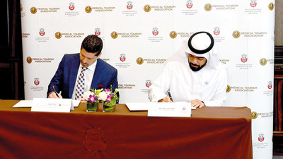 (L-R) Medical Tourism Association Chairman & CEO and Global Healthcare Resources Chairman, Jonathan Edelheit signs MoU on October 7, 2018 alongside HE Saif Saeed Ghobash, Undersecretary of DCT Abu Dhabi to position the Emirate as a leading destination for medical travel.