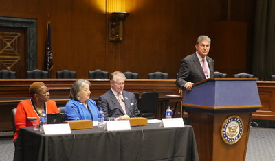 "Senator Joe Manchin (D-WV) speaks at the National League of Cities (NLC) briefing ""Cities and the Opioid Crisis: A Mayor's Perspective"" on Capitol Hill. From left, NLC First Vice President Karen Freeman-Wilson, mayor of Gary, Indiana, Mayor Madeline Rogero of Knoxville, Tennessee, and Mayor Steve Williams of Huntington, West Virginia."