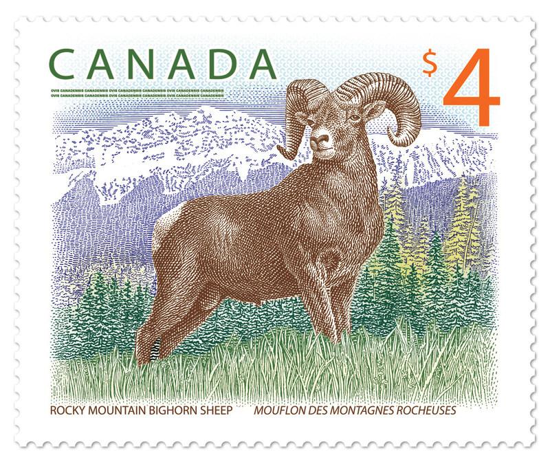 Timbre d'un mouflon des montagnes Rocheuses (Groupe CNW/Postes Canada)
