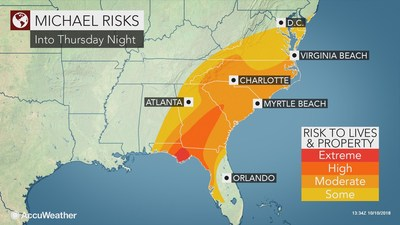 """AccuWeather predicts that Hurricane Michael's total damage and economic impact in the U.S. will be close to $30 billion,"" said AccuWeather Founder and President Dr. Joel N. Myers. ""The greatest impacts will be near and east of where the hurricane's eye makes landfall, and particularly along the coastline because of angry seas in a dangerous ocean storm surge being driven inland by onshore winds."""
