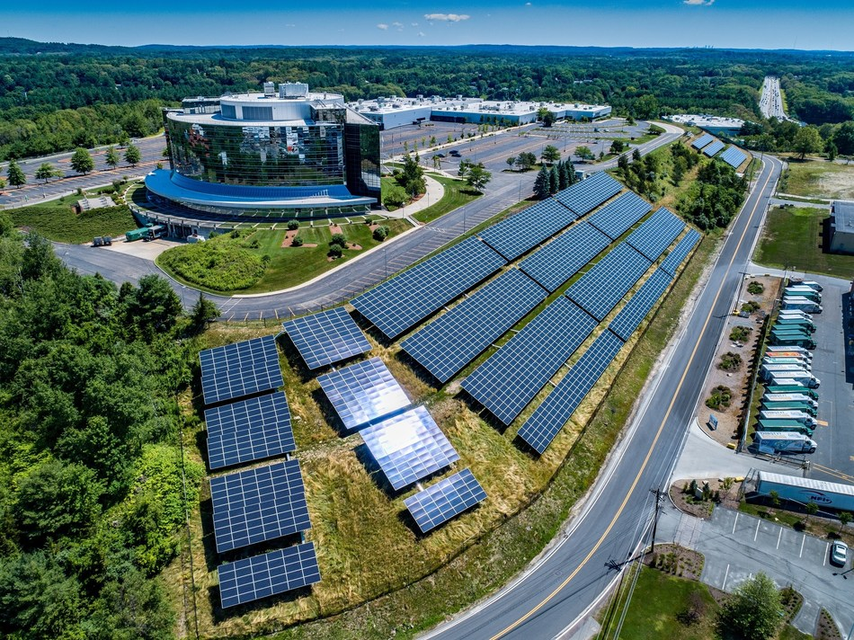 """A 1.7-megawatt SunPower solar project on """"The Mountain"""" at Bose Corporation's headquarters in Massachusetts is now generating power."""
