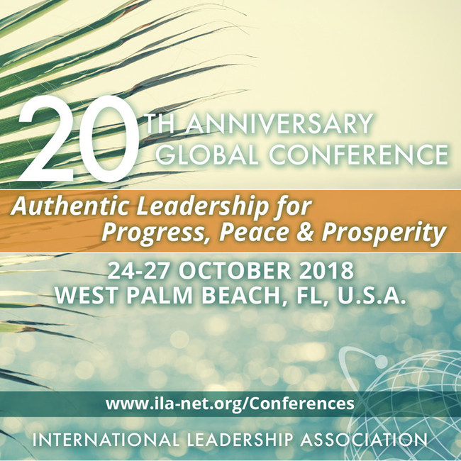 Conference registration is now open. To register or learn more about the International Leadership Association's 20th anniversary global conference, Authentic Leadership for Progress, Peace & Prosperity, please explore our conference website at http://www.ila-net.org/conferences. To request media credentials, please contact Debra DeRuyver at dderuyver@ila-net.org.