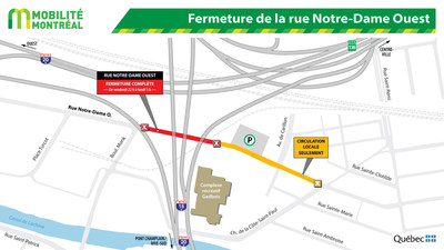 Fermeture de la rue Notre-Dame Ouest (Groupe CNW/Ministère des Transports, de la Mobilité durable et de l