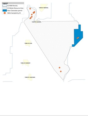 Figure 1: The newly acquired permit in Clearwater East (Permit 1) in relation to the existing permit area and the Central Clearwater Resource Area. (CNW Group/E3 Metals Corp.)