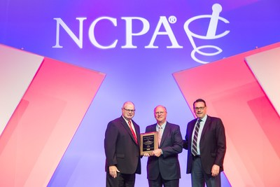 NCPA's 2018 Willard B. Simmons Independent Pharmacist of the Year Award Presentation (Left to Right:  NCPA President, David Smith, RPh; Jim Spoon, DPh; and Mike McBride of Upsher-Smith)