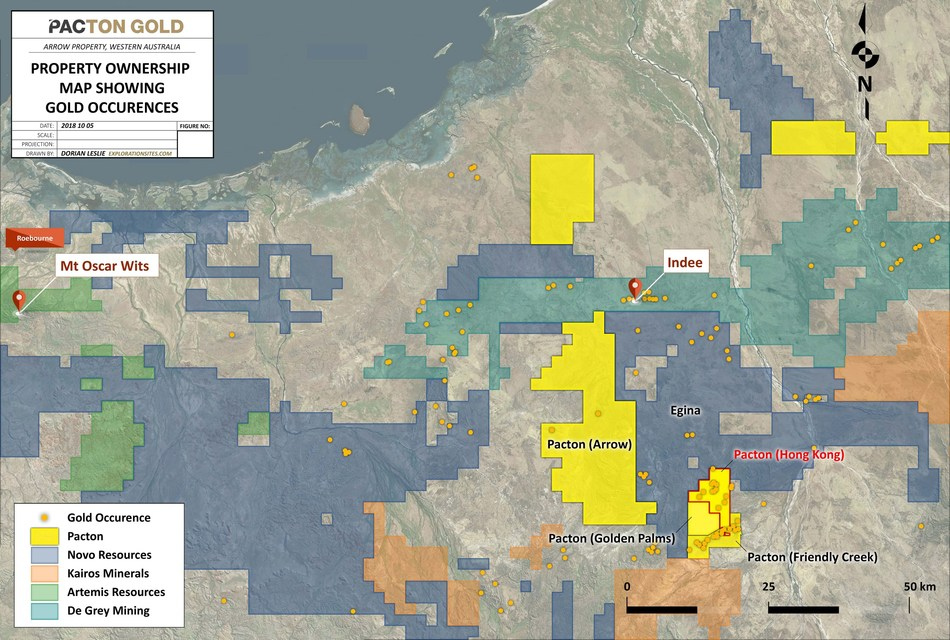 Figure 2: Pacton Egina Region Tenure inclusive of Hong Kong Project (CNW Group/Pacton Gold Inc.)