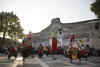 Rikaze Tibetan Drama Troupe putting on a performance