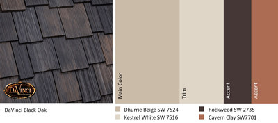 """One of the """"Connect"""" color trends for 2019 --- Cavern Clay --- can be used as a home exterior accent color to complement DaVinci Roofscapes composite shake shingles in Black Oak."""