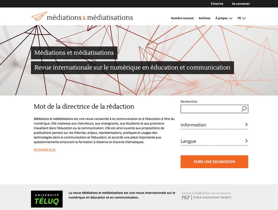 La revue numérique Médiations et médiatisations (Groupe CNW/Université TÉLUQ)