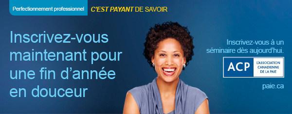 L'Association canadienne de la paie offre également plus d'une vingtaine de séminaires de perfectionnement professionnel différents sur la paie à travers le Canada, lesquels s'adressent aux professionnels membres et non membres des secteurs de la paie, de la comptabilité, de la finance et des ressources humaines qui ont à cœur d'avoir des connaissances à jour en conformité de la paie. (Groupe CNW/Association canadienne de la paie)