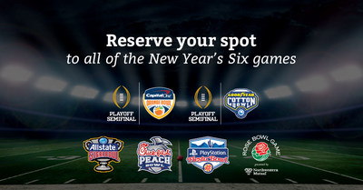 CFP-RSVP.com, the leading reservation program for the biggest games in college football, has become official partners with each of the College Football Playoff New Year's Six games. This includes the Goodyear Cotton Bowl Classic, Capital One Orange Bowl, Chick-fil-A Peach Bowl, Allstate Sugar Bowl, PlayStation Fiesta Bowl, and the Rose Bowl Game presented by Northwestern Mutual.