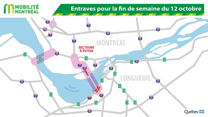 Entraves pour la fin de semaine du 12 octobre (Groupe CNW/Ministère des Transports, de la Mobilité durable et de l'Électrification des transports)