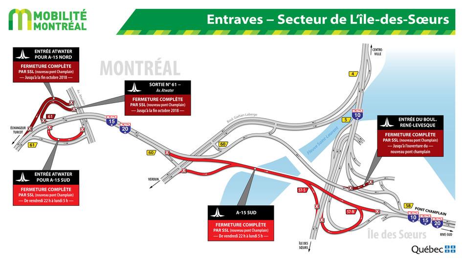 Entraves – Secteurs de L'île-des-Sœurs (Groupe CNW/Ministère des Transports, de la Mobilité durable et de l'Électrification des transports)