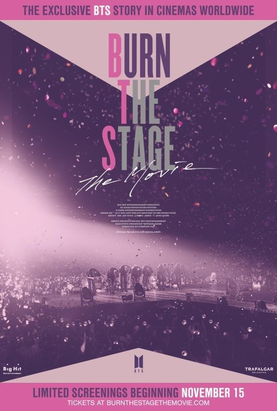 Official poster artwork is revealed for the exclusive BTS story Burn the Stage: the Movie coming to cinemas worldwide beginning November 15 for limited screenings