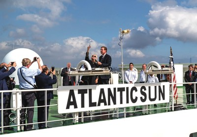 Godmother of Atlantic Container Line's Atlantic Sun, Mrs. Katherine LoBue, christens the vessel with ACL's President and CEO, Andrew J. Abbott looking on. The Atlantic Sun was berthed at FAPS Port Newark Auto Marine Terminal in the Port of New York & New Jersey.
