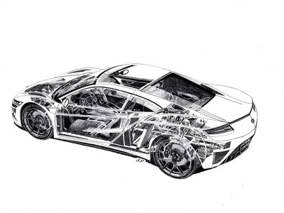 NSX Cutaway Sketch by Legendary Artist Shin Yoshikawa Reveals Hidden Details of Precision Crafted Performance
