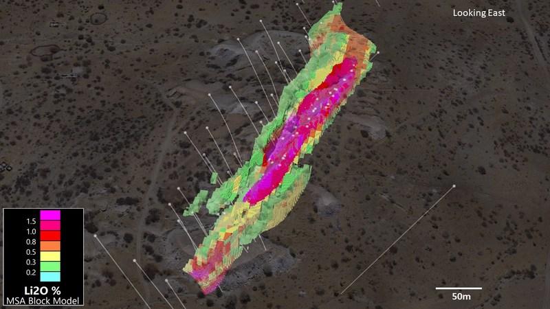Figure 4. 3D View of Helikon 1 (0.2% Li2O cutoff) (CNW Group/Desert Lion Energy)