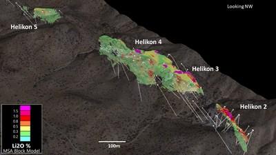 Figure 5. 3D View of Helikon 2 - 5 (0.2% Li2O cutoff) (CNW Group/Desert Lion Energy)
