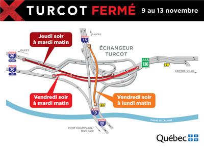 Carte des fermetures du 9 au 13 novembre (Groupe CNW/Ministère des Transports, de la Mobilité durable et de l'Électrification des transports)