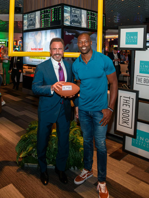 Caesars Entertainment CEO and President Mark Frissora and NFL Hall of Famer Terrell Owens open The Book, the all-new race and sports book at The LINQ Hotel & Casino, on Thursday, Oct. 11 in Las Vegas. Credit: Patrick Gray/KabikPhotoGroup.com