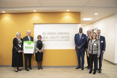Pictured is a celebration for cutting the floss to open the Delta Dental Oral Health Center at Hennepin Healthcare, made possible by a $4.6 million grant in 2017 from Delta Dental of Minnesota Foundation. The new clinic in Minneapolis increased access to care for at-risk patients by 60 percent — from 17,200 to 27,500 annual patient visits.