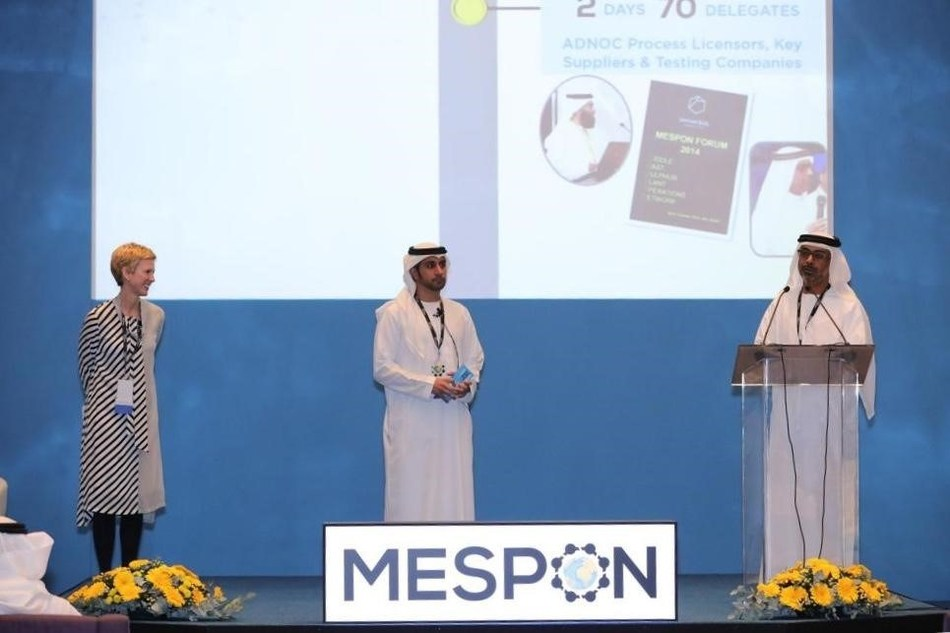 Left to right: Angie Slavens (UniverSUL Consulting), Omar Al Marzooqi (ADNOC Sour Gas) and Bader Al Mohamadi (ADNOC) opening MESPON 2018 (PRNewsfoto/UniverSUL Consulting)