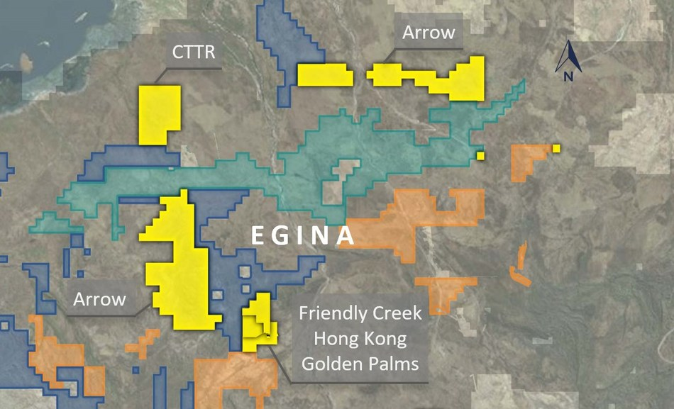 Figure 1. Location map of Pacton tenements in the Egina Area. (CNW Group/Pacton Gold Inc.)