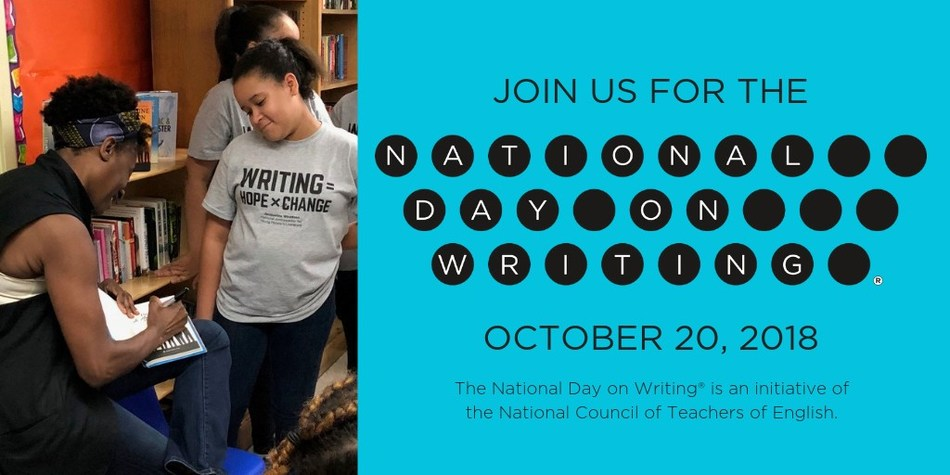 The National Day on Writing® (October 20), an initiative of the National Council of Teachers of English, is built on the premise that writing is critical to literacy but needs greater attention and celebration. Learn more about how you can participate at http://whyiwrite.us/.