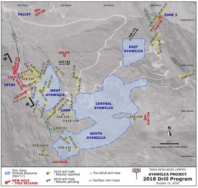 Figure 2.  Ayawilca drill hole map highlighting 2018 holes & existing zinc resources (CNW Group/Tinka Resources Limited)