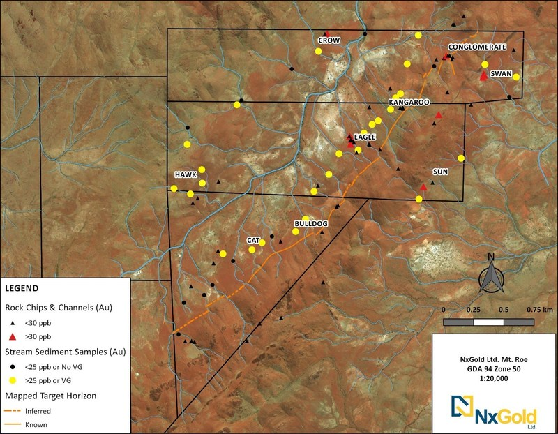 Figure 1: Prospect locations of the Mt. Roe Gold Project (Sholl tenement). (CNW Group/NxGold Ltd.)
