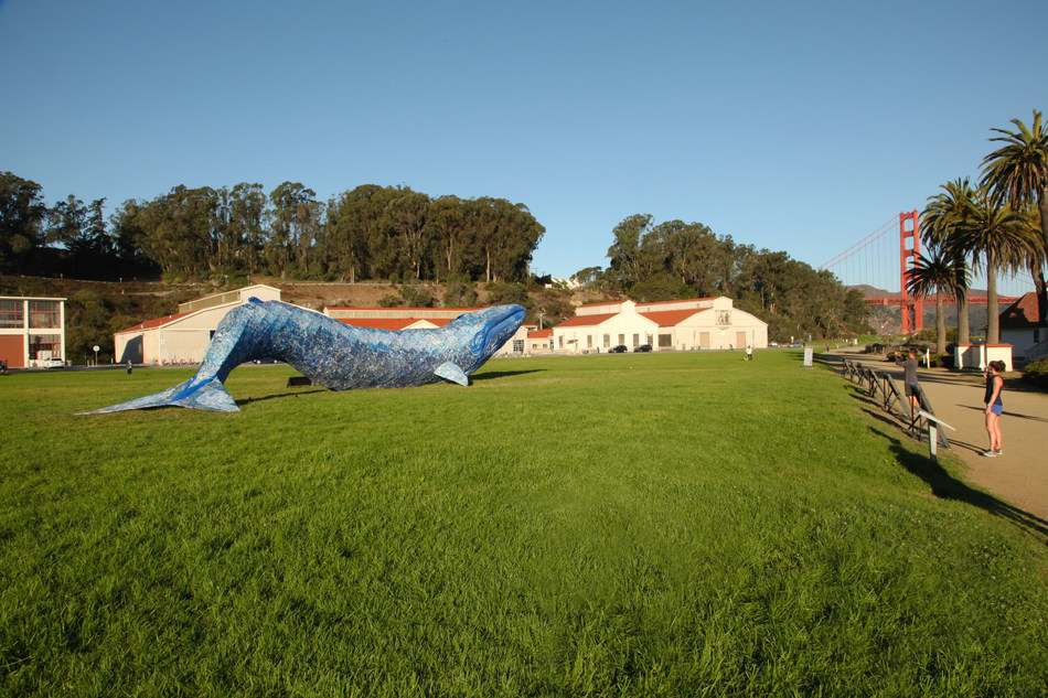 Monterey Bay Aquarium's life-sized blue whale art installation is on display at Crissy Field in the heart of the Golden Gate National Recreation Area in San Francisco, to bring awareness to the issue of ocean plastic pollution. The largest animal ever to live on Earth, a blue whale can weigh about 300,000 pounds – the approximate weight of plastic that ends up in the ocean every nine minutes.