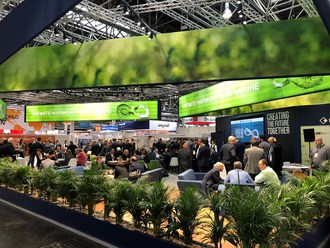 """Assan Alüminyum, one of the 3 largest aluminium foil producers in Europe, celebrates Its 30th Anniversary With Its """"Infinite Harmony With Nature"""" Booth at the Aluminium 2018 Exhibition. The booth's design emphasized the firm's focus on being environmentally sustainable in its processes, fitting the slogan """"Infinite Harmony with Nature"""". Assan Alüminyum produces renewable energy in its power plant, at a rate that is equivalent to its electrical energy consumption. The company's integrated recycling facility also contributes to its sustainability strategy. (PRNewsfoto/Assan Aluminyum)"""