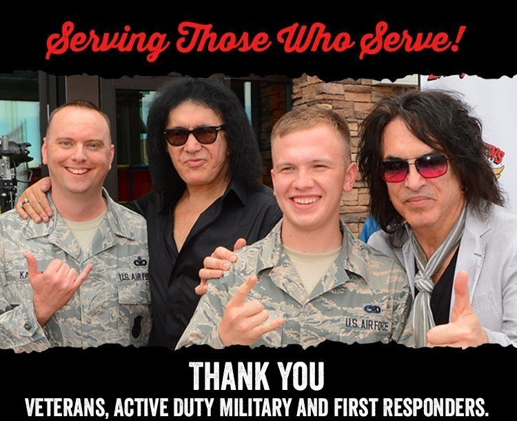 Gene Simmons and Paul Stanley of KISS will offer free food to veterans, active military and first responders at their Rock & Brews restaurants on Veterans Day.