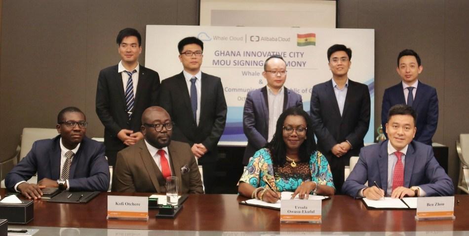 Ben Zhou, CEO international of Whale Cloud, and Mrs. Ursula Owusu Ekuful, communications minister of the Republic of Ghana, signed the Ghana innovation city MoU (PRNewsfoto/Whale Cloud)