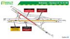 Entraves dans l'échangeur de l'A-13/A-40 au cours de la fin de semaine du 19 octobre 2018 (Groupe CNW/Ministère des Transports, de la Mobilité durable et de l'Électrification des transports)