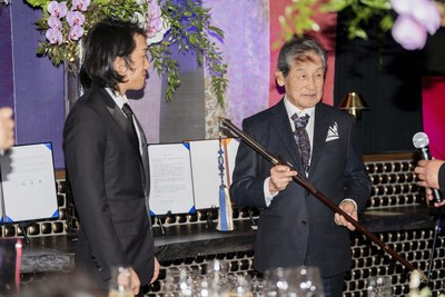 """A Passing of the Sword ceremony naming Andrew Lee the new crown prince of the Korean Empire was held on Oct. 6, 2018, inside Crustacean Beverly Hills in California. Crown Prince Andrew Lee, left, received a sword from Crown Prince Yi Seok, the last remaining heir to the Joseon Dynasty throne living in Korea. Upon bestowing the sword, Yi Seok called the sword a symbol of the """"honor, dignity and prestige"""" of the Korean Empire's imperial family. Accepting the sword, Andrew Lee stated: """"I solemnly swear that I will commit to the values of love, human rights, peace and freedom for humanity to the best of my ability."""""""