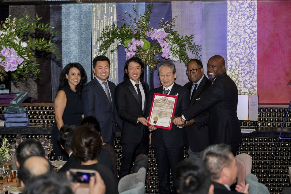 Los Angeles city and county officials presented Crown Prince Andrew Lee and Crown Prince Yi Seok with a proclamation during the Passing of the Sword ceremony on Oct. 6, 2018. Left to right: L.A. Councilmembers Nury Martinez and David Ryu; Crown Prince Andrew Lee and Crown Prince Yi Seok; L.A. County Supervisor Mark Ridley-Thomas, L.A. City Councilman Marqueece Harrison-Dawson.