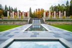 The Talar, with its orange canopies and limestone pillars, offers a majestic view of the central Chahar Bagh (four-part garden) at the Aga Khan Garden, Alberta. The garden in Edmonton was inaugurated on Oct. 16. (CNW Group/University of Alberta)